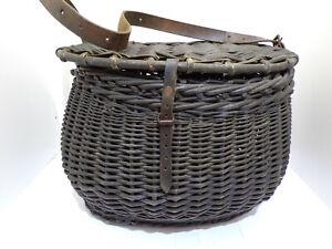 Ancien panier peche osier pecheur old french fishing wicker creel basket