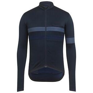 NEW Rapha Men's Cycling Jersey Brevet Dark Navy Blue Long Sleeve XS RCC Hi Vis