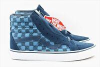 Vans SK8 Hi Reissue Stitch Checkers Mens Size 8 Skate Shoes Blue