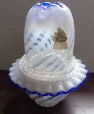 "Vtg Fenton  Milk Optic Crest Opalescent Glass 3p Fairy Light 7"" with sticker"