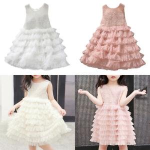 Kids Girls Sleeveless Tutu Dress Party Wedding Tulle Cake Dress Princess Dresses
