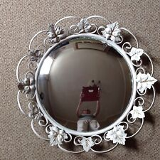 Vintage, White Metal Leaf Frame, Bevelled Edge Convex Mirror. Shabby Chic Retro