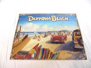 "Retro Style Greetings from Daytona Beach Metal Sign16"" x 12.5"""