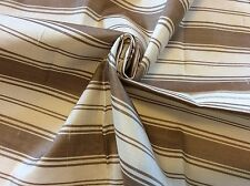 RPD408 Dupioni Silk Fabric Taupe Ivory Stripe Machine Woven Silk Fabric Remnant