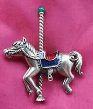 925 Sterling Silver Carousel Fair Horse with Blue/Red Enamel Saddle