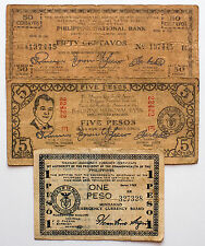 3 diff. Philippines WW2 1940's guerrilla paper money circ.- pinholes