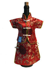 Chinese Silk Decor, 2 Piece Wine Bottle Cover, Qing Female Clothing, Red & Gold