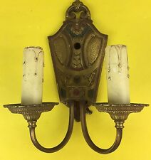 Vtg Antique Brass Wall Sconce Electric Candleabra Lamp Light