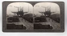 ORE UNLOADERS AT WORK, CONNEAUT, OHIO: Stereoscopic photograph (C28673)