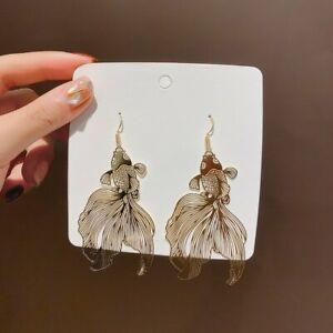 Good Luck Golden Carp  Fish Earrings Hollow Hook Drop Dangle Women Xmas Gift