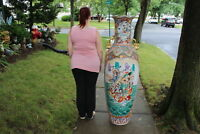 HUGE Chinese Palace Vase Moriage Satsuma Men Women Colorful Beaded Flower Marked