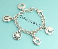 TIFFANY&Co Star Moon Heart charm Bracelet Peretti Silver 925 Bangle w/BOX