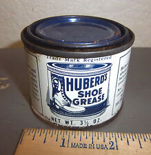 Vintage Huberds shoe grease 3.5 oz tin, partially full, great graphics & colors
