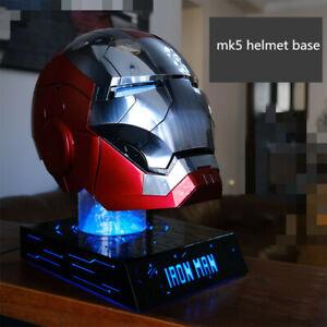 iron Man MK5 Helmet Display Stand Base 7 Colors Light PVC Model Prop Black Stock