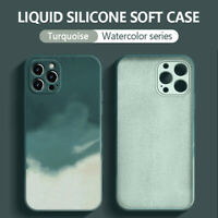 Case For iPhone 12 Pro Max 11 XR XS 8 7 Square Watercolor Liquid Silicone Cover