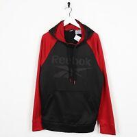 Vintage REEBOK Big Logo Polyester Hoodie Sweatshirt Black Red | Medium M