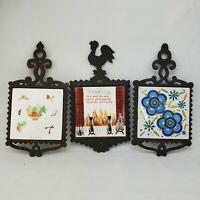 Lot of 3 Cast Iron Rooster Trivets FM KY rare MITSUI Japan Tile Colorful Vintage