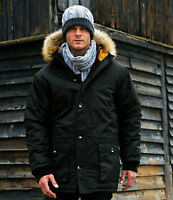 Mens Waterproof Parka Padded Autumn Winter Lined Jacket Coat with Faux Fur Hood