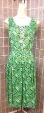 50s 60s Atomic Green Dress w/ Large Diamond Print