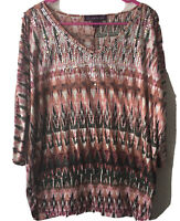 Gloria Vanderbilt 3/4 Sleeve Sequined Multicolored Top Women's Size Large
