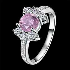 Pink Rings For Women R965 Fashion 925Sterling Solid Silver Jewelry Crystal