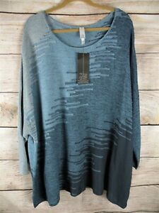NWT MARLAWYNNE MULTI COLOR BLUE VISCOSE LIGHTWEIGHT PULLOVER TUNIC SWEATER 3X