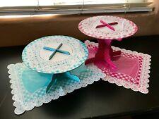 Pretend Play Kitchen Tea Party Decorative Cake Treat Stands Child Accessories