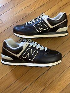 New Balance 574 Black Vintage Leather Shoes Men's Size 8 ML574LPK
