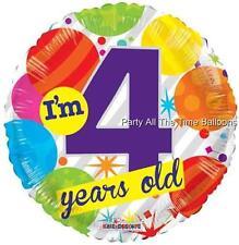 I'M 4 TODAY Mylar Happy Birthday Balloons 4th SET OF 2 17 Inch FREE SHIP