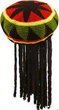 Unisex Ladies Mens Adult Jamaican Hat with Wig Dreadlocks Bob Marley Fancy Dress