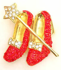 Wizard of Oz Dorothy's Red Rhinestone Ruby Slippers Magic Wand Pin Brooch + Box