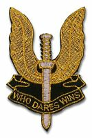 """SAS SPECIAL AIR FORCE """"Who Dares Wins"""" British Forces Iron-On Patch GOLD VERSION"""