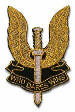 "SAS SPECIAL AIR FORCE ""Who Dares Wins"" British Forces Iron-On Patch GOLD VERSION"