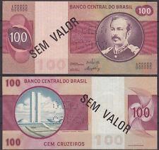 BRAZIL 100 CRUZEIROS SPECIMEN NOTE (1970-81) SEM VALOR P 195s UNC  (11630