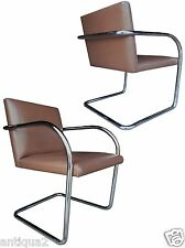 PAIR KNOLL MIES VAN DER ROHE STYL CHROME & LEATHER CANTILEVER LOUNGE ARM CHAIRS