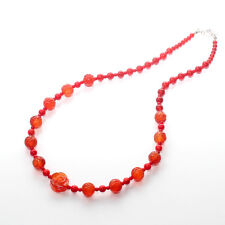 GENUINE NATURAL GEMSTONE AGATE CORAL NECKLACE EARRING SET