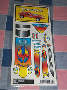 NIP Pinecar Templates & Stick-On Decals P476 Hot Wings