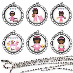 Set 6 Sleep Over Pizza Party Bottle Cap Necklaces Favors Goody Bags Prizes Gifts