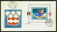 1976 Innsbruck Olympics,Alpine Skiing,Romania,Bl.129,IMPERFORATED,CV$100,FDC