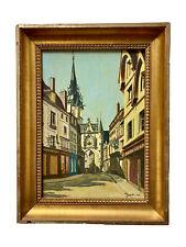 Peinture Huile sur Panneau Signée Auxerre Rue de l'Horloge Commerces XIX ème