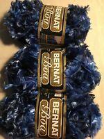 3 Skeins Bernat Boa Yarn Color 8110-Blue Bird. 50 Gr/ 1 3/4 oz. Per Skein.