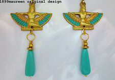 Egyptian revival Art Deco Orecchini 1920s Stile Vintage Art Nouveau Turchese