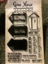 Gina Marie clear unmounted cling stamp set - Outhouse
