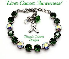 NEW! Beautiful LIVER CANCER Awareness 8mm Swarovski Elements Bracelet - PRETTY!