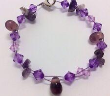 NEW Purple Amethyst Chip Glass Gemstone Bead Bracelet Female Gift Lobster Clasp