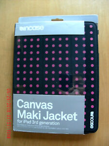 NEW INCASE Canvas Maki Jacket black w/ fuchsia dots for iPad 3rd generation