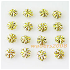 200 New Charms Gold Line Acrylic Plastic Clear Flower Spacer Beads 7mm
