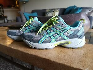 ASICS Gel-Venture 5, Womens Running Shoes 7W, Gray/Turquoise/Lime, Perfect Cond.
