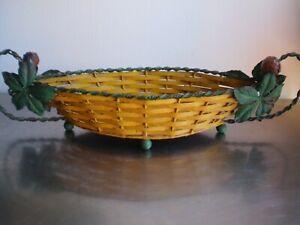 COUPE A FRUIT CORBEILLE DE TABLE ART DECO FER FORGE DECOR MARRONIER ANCIEN 1930