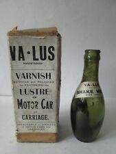 VA-Lus Motor car or carriage varnish bottle.Motor oil. Esso.shell.BP. Castrol.